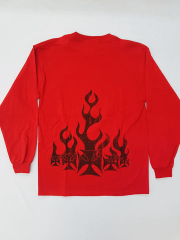 Black Iron Cross - Red Longsleeve Novelty Shirt