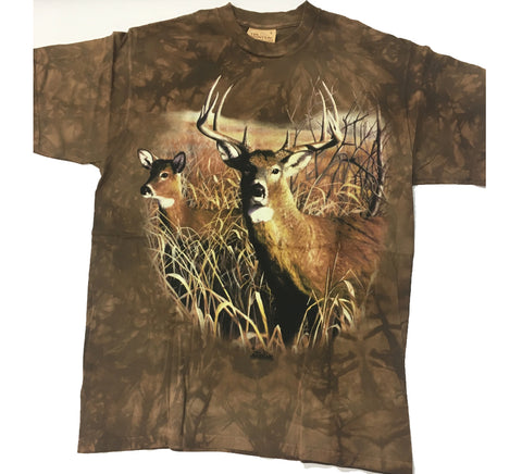 Deer - Buck and Doe in Field Mountain Shirt