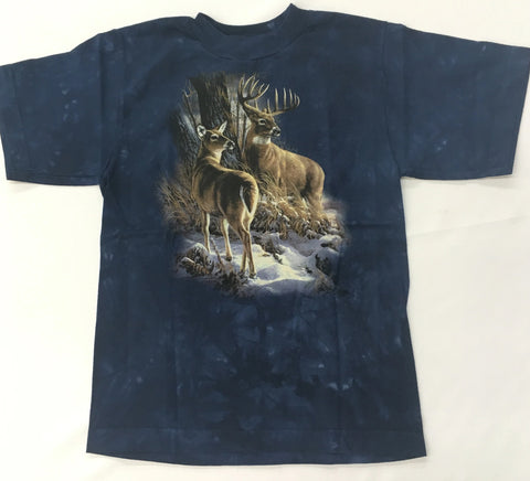 Deer - Buck and Doe in Snow Youth Mountain Shirt