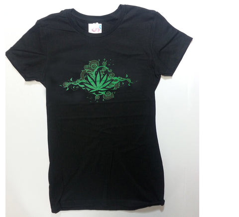 Leaf - Swirled Vines Weed Leaf Girlie Shirt
