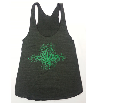 Leaf - Swirled Vines Weed Leaf Tank Top Girlie Shirt