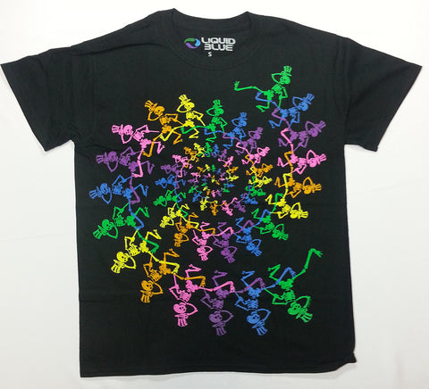 Grateful Dead - Spiral Rainbow Skeletons Liquid Blue Shirt
