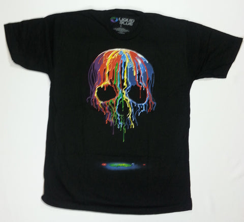 Dark Fantasy - Melting Rainbow Skull Liquid Blue Shirt