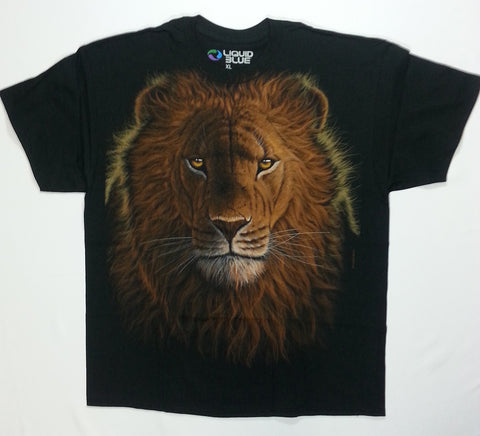 Animals - Lion Face Front Drinking Water Back Liquid Blue Shirt