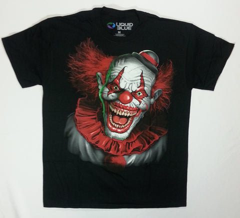 Dark Fantasy - Red Haired Scary Clown Liquid Blue Shirt