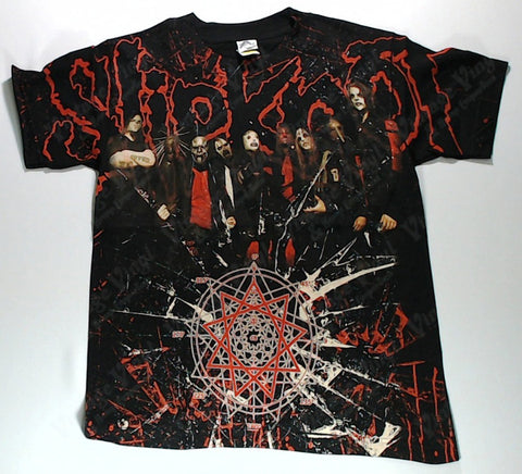 Slipknot - Band Posing Red Splatter Cracked Glass All-Over Print Shirt