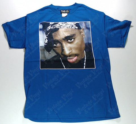 Tupac - Portrait Wearing Bandana Blue Shirt