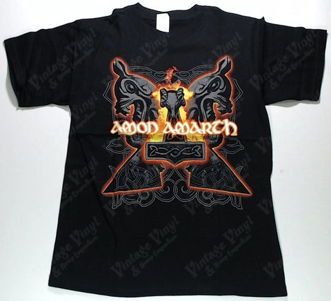 Amon Amarth - Logo on Flaming Hammer Shirt