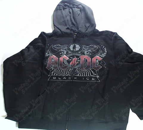 AC/DC - Black Ice Red Logo Zip-Up Hoodie