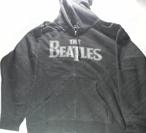Beatles, The - Black with White Logo Zip-Up Hoodie