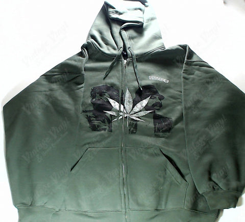 Cheech & Chong - Leaf And Faces Green Zip-Up Hoodie
