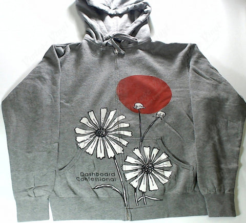 Dashboard Confessional - Sun and Flowers Grey Zip-Up Hoodie