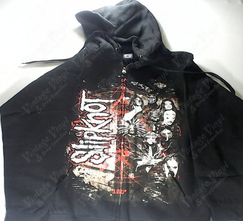 Slipknot - White Band Red Star Vertical Name Zip-Up Hoodie