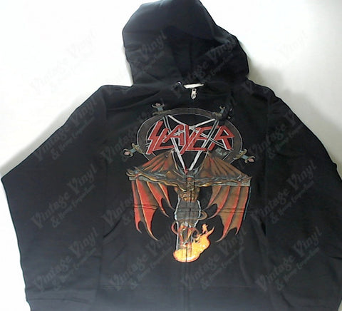 Slayer - Winged Demon On Cross Pentagram Zip-Up Hoodie
