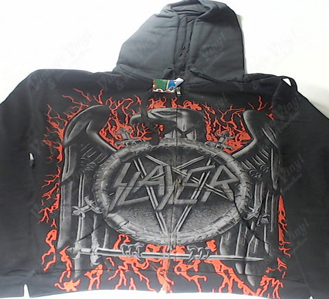 Slayer - Red Glowing Lightning Iron Eagle Zip-Up Hoodie