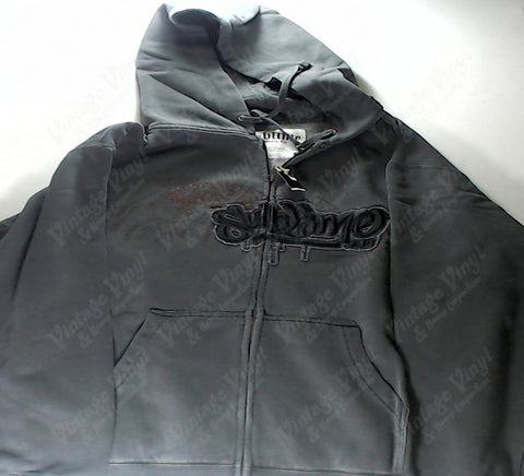 Sublime - Graffiti Logo Embroidered Grey Zip-Up Hoodie