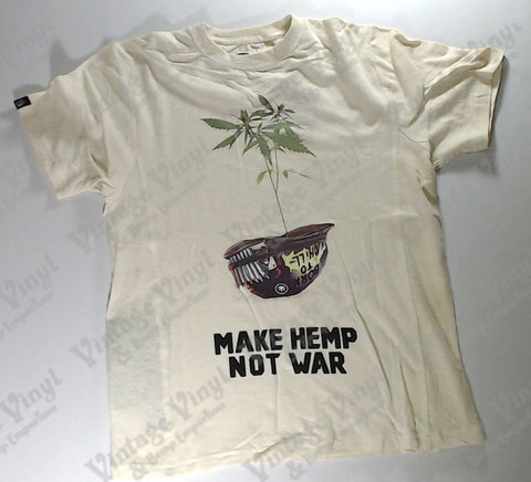 "Hoodlamb - Coloured Plant in Helmet ""Make Hemp Not War"" Tan Novelty Shirt"