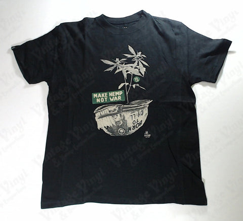 "Hoodlamb - Plant in Helmet ""Make Hemp Not War"" Black Novelty Shirt"