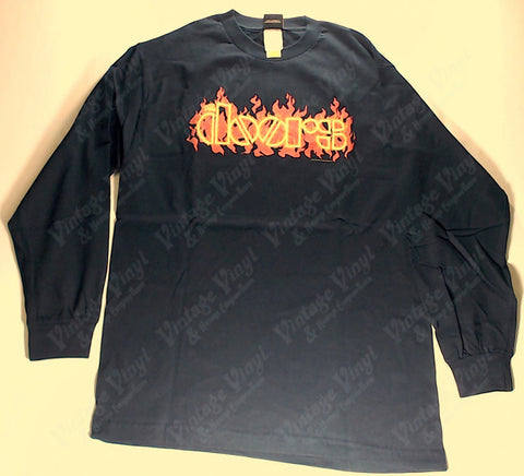 Doors, The - Flaming Logo Navy Long Sleeve Shirt