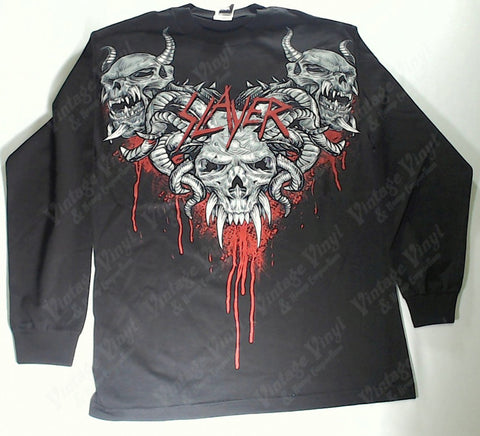 Slayer - Bloody Horned Demon Heads V Long Sleeve Shirt