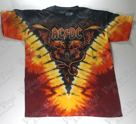 AC/DC - Flaming Winged Skulls Liquid Blue Shirt