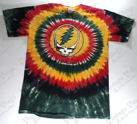 Grateful Dead -Steal Your Face Rasta Spiral Skull Liquid Blue Shirt