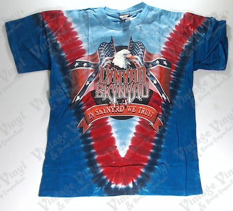 Lynyrd Skynyrd - In Skynyrd We Trust Flags And Eagle V Liquid Blue Shirt