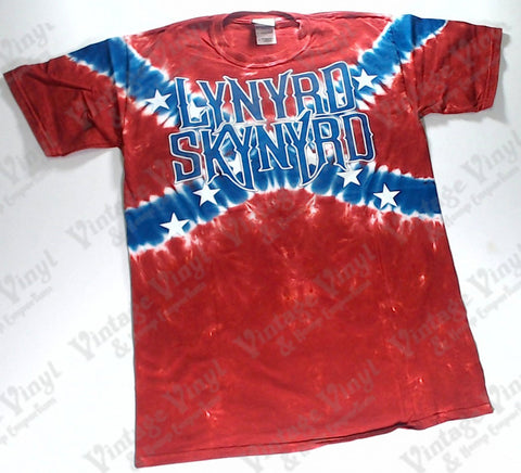 Lynyrd Skynyrd - Support Southern Rock Confederate Flag Liquid Blue Shirt