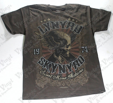 Lynyrd Skynyrd - Sweet Home Alabama 1974 Winged Skull Brown Liquid Blue Shirt
