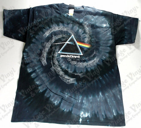 Pink Floyd - Dark Side Spiralling Text Spiral Liquid Blue Shirt