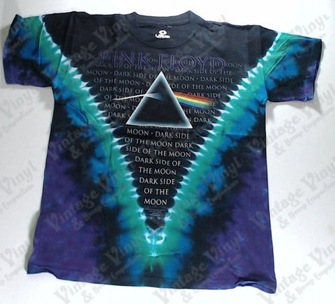 Pink Floyd - Dark Side Background Text V Liquid Blue Shirt