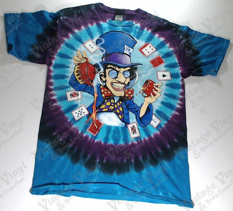 Alice In Wonderland - Blue and Purple Mad Hatter And Cheshire Cat Liquid Blue Shirt