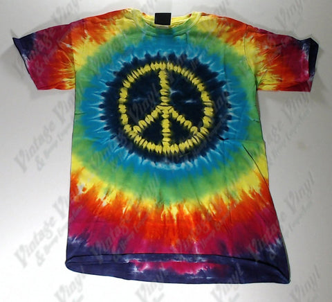 Peace - Yellow Peace Logo Novelty Liquid Blue Shirt