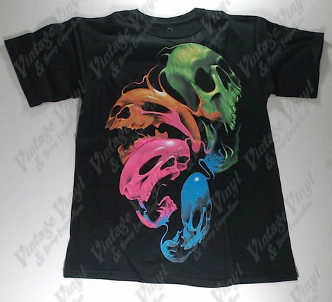 Dark Fantasy - Neon Ghoulish Skulls Liquid Blue Shirt