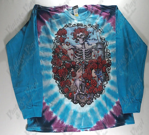 Grateful Dead - Skeleton Roses Long Sleeve Liquid Blue Shirt