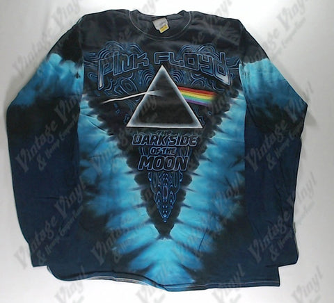 Pink Floyd - Dark Side Cool Text V Long Sleeve Liquid Blue Shirt