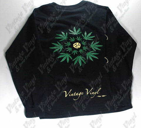 Vintage Vinyl - Weed Leaf Circle 45rpm Adapter Long Sleeve Shirt
