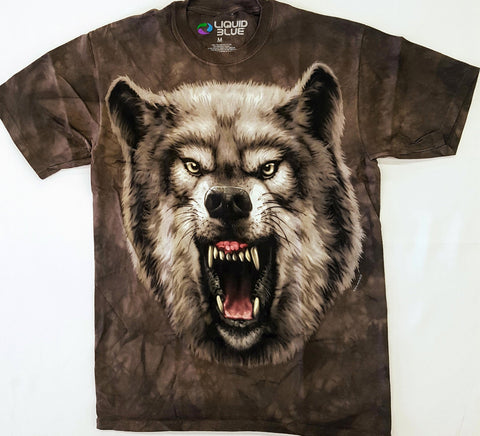 Animals - Wolf Growling Brown Tie Dye Liquid Blue Shirt
