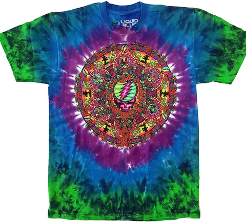 Grateful Dead - Steal Your Face Mandala Tie Dye Liquid Blue Shirt