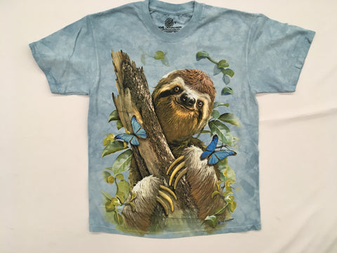 Sloth- Sloth & Butterflies Mountain T-Shirt