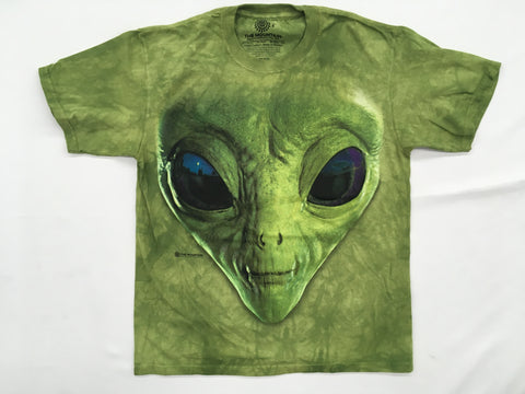 Aliens- Green Alien Face Mountain T-Shirt