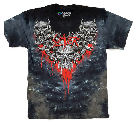 Slayer - Bloody Horned Demon Heads Tie Dye Liquid Blue Shirt