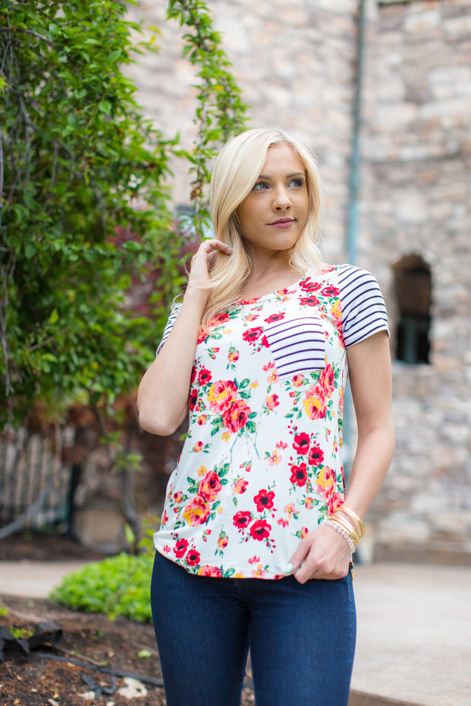 Floral and Striped Pocket Tee