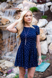 Dotting on you Dress - Navy and Coral