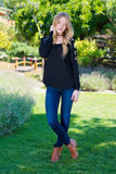 Cut out Long Sleeve Tee- Black