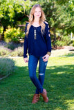 Cut Out Long Sleeve Tee-Navy