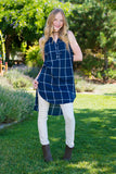 Fall Plaid Tunic- Navy
