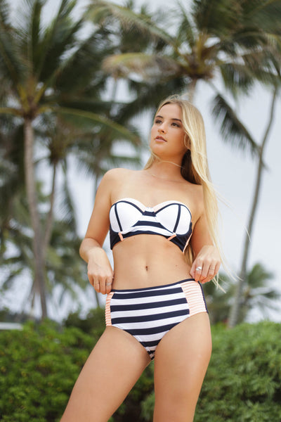 Stripes and Coral High Waisted Bottom