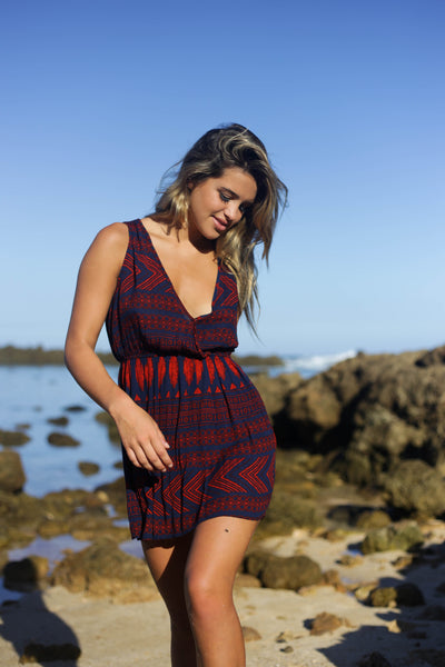 The Tribal Cover Up Dress - Navy and Rust