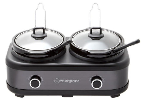 2 Pot Slow Cooker, Black Stainless Steel